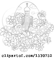 Black And White Church In An Egg Shaped Frame With Daisies