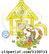 Clipart Of A Happy Pet Guinea Pig With A House Toys And Plate Of Food Royalty Free Vector Illustration by Alex Bannykh