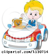 Blond Caucasian Boy Playing And Driving His Teddy Bear Around In A Car