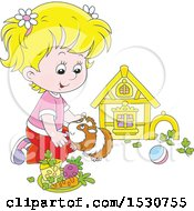 Clipart Of A Blond Caucasian Girl Playing With Her Pet Guinea Pig Royalty Free Vector Illustration by Alex Bannykh