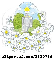 Clipart Of A Beautiful Church In An Egg Shaped Frame With White Daisy Flowers Royalty Free Vector Illustration