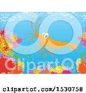 Clipart Of A Happy Shrimp Swimming Over A Coral Reef Royalty Free Vector Illustration