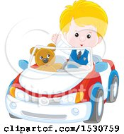 Blond White Boy Playing And Driving His Teddy Bear Around In A Car