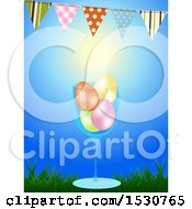 Clipart Of A 3d Glass With Colored Easter Eggs Under A Bunting Against Blue Sky Royalty Free Vector Illustration