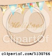 Poster, Art Print Of Brown Paper Holidays Circle Design With A Travel Themed Bunting Banner