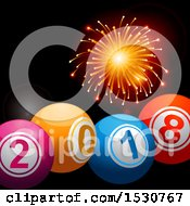 Clipart Of A Firework Over 3d 2018 Bingo Or Lottery Balls Royalty Free Vector Illustration