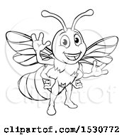 Poster, Art Print Of Black And White Happy Friendly Bee Mascot Waving