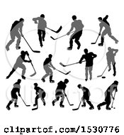 Silhouetted Hockey Players