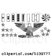 Poster, Art Print Of Black And White American Military Army Officer Rank Insignia Badges