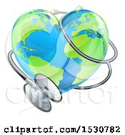 Clipart Of A 3d Medical Stethoscope Around A Heart World Earth Globe Royalty Free Vector Illustration by AtStockIllustration