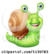 Clipart Of A Happy Green Snail Royalty Free Vector Illustration