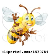 Clipart Of A Happy Friendly Bee Mascot Waving Royalty Free Vector Illustration by AtStockIllustration