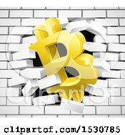 Clipart Of A 3d Gold Bitcoin Currency Symbol Breaking Through A White Brick Wall Royalty Free Vector Illustration by AtStockIllustration