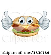 Happy Cheeseburger Mascot Holding Two Thumbs Up