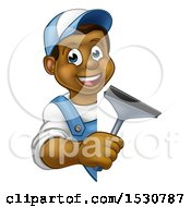 Cartoon Happy Black Male Window Cleaner Holding A Squeegee Around A Sign