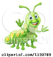 Clipart Of A Happy Green Caterpillar Royalty Free Vector Illustration by AtStockIllustration