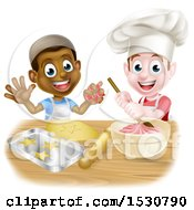 Clipart Of Happy White And Black Boys Making Frosting And Cookies Royalty Free Vector Illustration