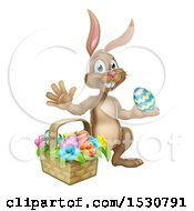 Happy Brown Easter Bunny Rabbit With A Basket And Eggs