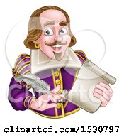 Clipart Of A Man William Shakespeare Holding A Scroll And Feather Quill From Waist Up Royalty Free Vector Illustration