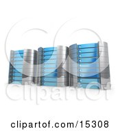 Three Blue Towers Of Server Racks