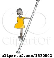 Cartoon Happy Successful Black Business Woman Climbing A Ladder