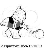 Poster, Art Print Of Black And White Cartoon Gorilla Bowling
