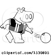 Black And White Cartoon Hippo Bowling