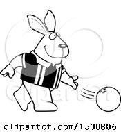 Clipart Of A Cartoon Black And White Rabbit Bowling Royalty Free Vector Illustration