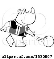 Poster, Art Print Of Black And White Cartoon Rhino Bowling