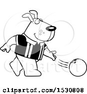 Poster, Art Print Of Black And White Cartoon Dog Bowling