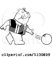 Poster, Art Print Of Black And White Cartoon Bulldog Bowling