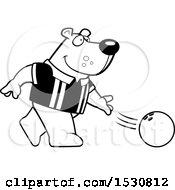 Poster, Art Print Of Black And White Cartoon Bear Bowling