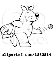 Clipart Of A Cartoon Black And White Wolf Baseball Pitcher Royalty Free Vector Illustration