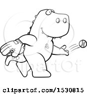 Clipart Of A Cartoon Black And White Tyrannosaurus Rex Dinosaur Baseball Pitcher Royalty Free Vector Illustration