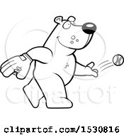 Clipart Of A Cartoon Black And White Bear Baseball Pitcher Royalty Free Vector Illustration