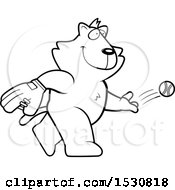 Clipart Of A Cartoon Black And White Cat Baseball Pitcher Royalty Free Vector Illustration