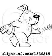 Clipart Of A Cartoon Black And White Dog Baseball Pitcher Royalty Free Vector Illustration