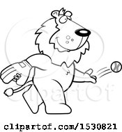 Clipart Of A Cartoon Black And White Lion Baseball Pitcher Royalty Free Vector Illustration