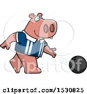 Poster, Art Print Of Cartoon Hippo Bowling