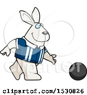 Clipart Of A Cartoon Rabbit Bowling Royalty Free Vector Illustration