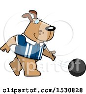 Poster, Art Print Of Cartoon Dog Bowling