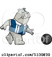 Poster, Art Print Of Cartoon Bulldog Bowling