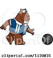 Poster, Art Print Of Cartoon Beaver Bowling