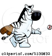Clipart Of A Cartoon Zebra Baseball Pitcher Royalty Free Vector Illustration