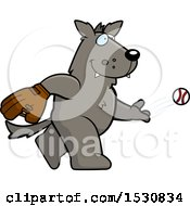 Clipart Of A Cartoon Wolf Baseball Pitcher Royalty Free Vector Illustration