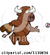 Clipart Of A Cartoon Buffalo Baseball Pitcher Royalty Free Vector Illustration