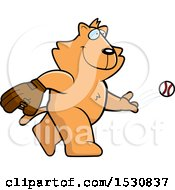 Clipart Of A Cartoon Orange Cat Baseball Pitcher Royalty Free Vector Illustration
