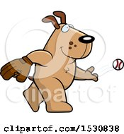 Cartoon Dog Baseball Pitcher