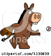Clipart Of A Cartoon Donkey Baseball Pitcher Royalty Free Vector Illustration