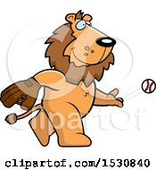 Poster, Art Print Of Cartoon Lion Baseball Pitcher
